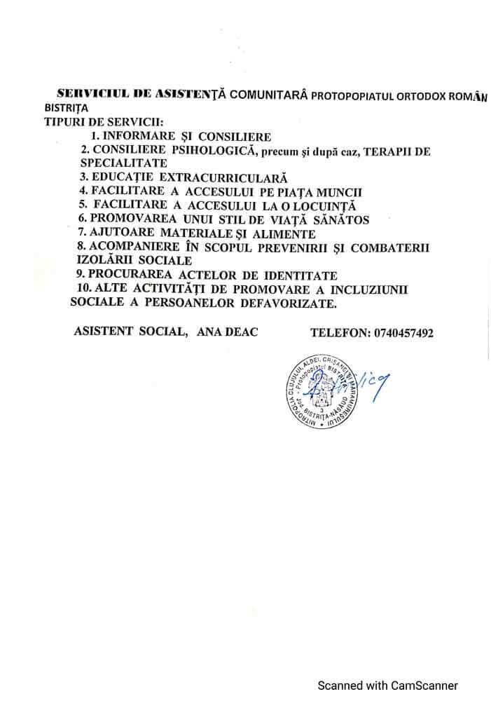 Serviciul de Asistență Comunitară Protopopiatul Ortodox Român Bistrița